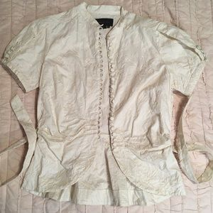 BCBGMaxazria button blouse with embroidered detail